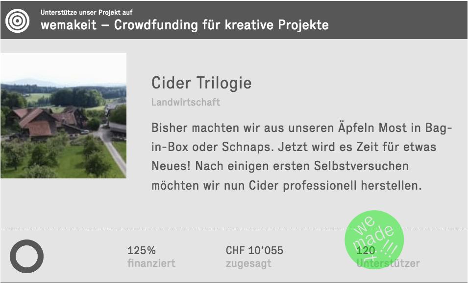 Crowdfunding für Cider